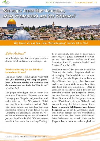 11. Was sagte Jesus über Jerusalem, seine Wiederkunft und das Weltende?